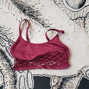 Vs pink maroon fishnet bralette scoop S